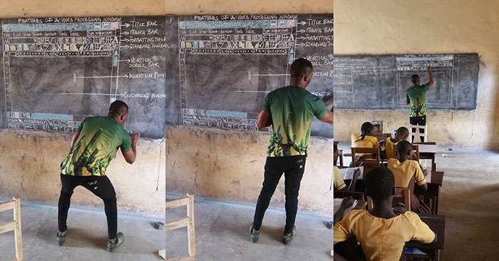 Teacher in Ghana shows Microsoft Word on blackboard